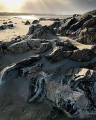 Traigh Uige (Tim Allott) Tags: windblownsand layers rock foliation sunset outcrop lewisiangneiss sanddunes beach ardroil uig isleoflewis scotland iphone outerhebrides 2017