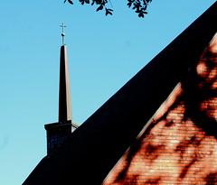 Episcopal Spire (Noel C. Hankamer) Tags: graceepiscopalchurch church window stone spire religious blue sky shade shadows glass negativespace minimalism