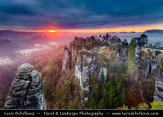 Germany - Saxony - Saxon Switzerland National Park -  Bastei at Dramatic Sunrise