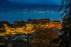 Lausanne at Night (BeNowMeHere) Tags: ifttt 500px travel clouds cityscape view nightscape nature landscape palace lac lake switzerland colours sky night sunset hotel city alps lausanne leman lakegeneva lakeleman lakeléman benowmehere lausannepalace