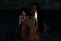 meeting in shadows (agaas_nigig) Tags: sl secondlife native night bath dark shadows female naked choker pfc puccafirecaster armband water male people precontact haudenosaunee tyraman