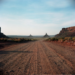 (patrickjoust) Tags: tlr twin lens reflex 120 6x6 medium format c41 color negative film manual focus analog mechanical patrick joust patrickjoust navajo nation southwest usa us united states north america estados unidos rural country high desert rock valleyofthegods dirt road butte utah ut