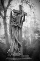 Angel embraces a cross (Realchemyst) Tags: angel black branch bright burial catholicism cemetery christianity church churchyard cross dead death europe fresh green headstone inscriptions ivy leaf medieval memory monument old plant religion religious sad statue stone