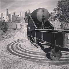 """""""The sound of a kiss is not so loud as that of a cannon, but it's echo lasts a great deal longer."""" (Andrew Aliferis) Tags: andrew andy aga aliferis iphoneograpy nyc newyorkcity bw monochrome blackandwhite instagram governorsisland castlejay canon gun manhattan"""