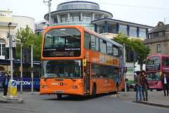 NCT Scania N270UD 950 YN08MTE - Nottingham (dwb transport photos) Tags: nct nottinghamcitytransport scania omnidekka bus decker950 yn08mte nottingham orangeline