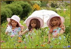 Sonnenschirmhütchen in der Blumenwiese ... (Kindergartenkinder) Tags: hut kindergartenkinder annette himstedt dolls milina tivi grugapark essen gruga blumenwiese annemoni blume