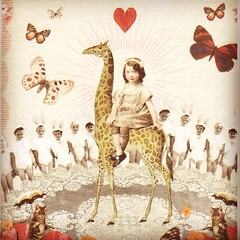 Postcrossing NL-654542 (booboo_babies) Tags: girl giraffe art postcrossing butterflies whimsical fantasy cute youngartists