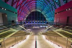 Anaheim ARTIC (Wayne Tilcock) Tags: anaheim nikon geometry california socal train station depot night lights stairs 1424 wide angle d810