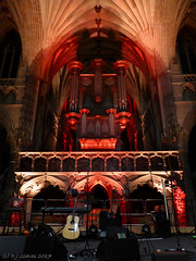 Show of Hands' stage (ExeDave) Tags: p1100405 showofhands exeter cathedral devon sw england gb uk concert gig show organ illuminated interior november 2017 red buiding architecture stage roots folk rock music band group live