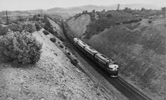 F Units Redding 1950's (ScholzRUNNER) Tags: southernpacificrailroad sp espee steamlocomotive redding california emd f7 coveredwagon black widow