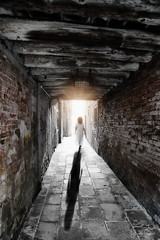 into the light . . . (YvonneRaulston) Tags: europe venice italy italian atmospheric tunnel bricks creativeartphotography calm dream lady white emotive peaceful person soft girl photoshopartistry fineartgrunge light sun glow moody moments mother sony path people street ally sundaylights