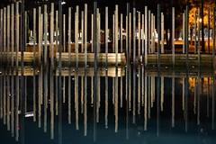 Levels (thedailyjaw) Tags: installation wood art sandiego california d610 nikon 50mm artinstallation pleasant medium message reflections water nightphotography night street