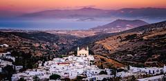 Panorama over Lefkes (Patberg) Tags: village greece paros sunset mountains island