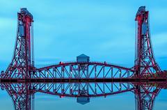 Newport Bridge Reflection_A100014 (Jonathan Irwin Photography) Tags: newport bridge middlesbrough rivertees led lights vertical lift tees mott hay anderson dorman long prince albert duke york king george v1 grade 2 listed building olympus omdem5mk2 high resolution mode