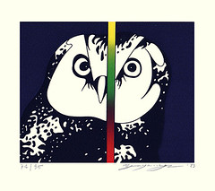 Owl (Japanese Flower and Bird Art) Tags: bird owl strigidae go yayanagi modern screenprint print japan japanese art readercollection