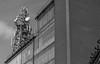 Pylon (Daniel C P M) Tags: pylon metal building brick architecture communication wow black white bw buildings dramatic imposing monochromatic monochrome york england university uk graphic stark contrast cloud sky windows old ugly interesting