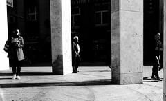 Three worlds (explored) (Leonegraph) Tags: explored kontrast contrast gegenlicht shadow schatten light licht panasonicgx800 panasonic1235mmf28 hannover hanover three women men kröpke monochrome einfarbig bw sw blanco negro bn schwarz weis black white leonegraph streetphotographer public öffentlich leben lebendig story urban spontan spontanious candid unaware personen sitaution 2017 europe europa germany deutschland walking gehen
