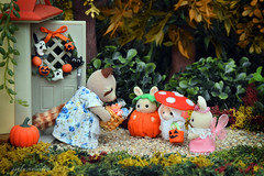 Sylvanian Families - Halloween (Sylvanako) Tags: halloween toy sylvanian cute costume candy cookies trick treat families babies baby toys woods forest spooky calico critters collection miniature costue pumpkin mushroom fairy dress diy toyphotography