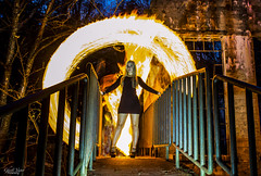 FIRESTARTER (TheGhostVaporVision) Tags: fire firepainting fireart art witch model shoot outdor modelshoot beautiful beauty pretty sexy women girl falls ruins carbidewilsonruins gatineau park national canada spooky bridge water leafs photography ghostvaporvision