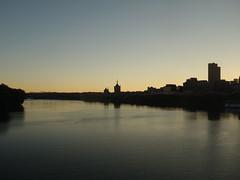 201709215 Albany, NY and Hudson River (taigatrommelchen) Tags: 20170939 usa ny newyork albany river hudson sky dusk city skyline railway railroad onboard explore