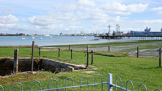 The view from the Explosion Museum, one of the attractions at the Portsmouth Historic Dockyard in September 2017, Gosport, Hampshire, England.