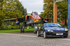 Jaguar and DB9 (Kev Gregory (General)) Tags: raf cosford 238 squadrons sepecat jaguar gr3a spotty registration xx119 formerly 54 sqn aircraft gd 6 eb coltishall aston martin db9 sports car luxury british fighter bomber ground attack kev gregory canon 7d propulsion sootie