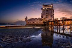 Tower of Belem, Lisbon, Portugal (dleiva) Tags: torredebelem lisboa portugal castillo castle see mar sunset crepusculo dleiva domingoleiva reflect reflejo