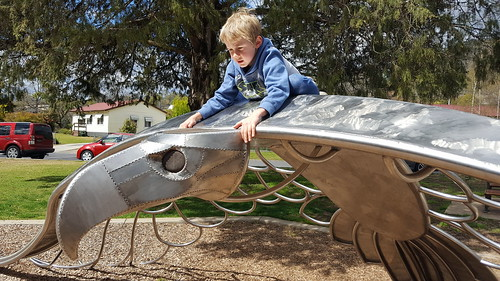 Cam riding the Bunjil sculpture