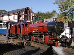 Many happy returns (Karls Kamera) Tags: red steam locomotive rivermite laalratty ravenglass eskdale railway anniversary 50th