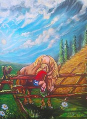 YOU ARE MY VERY BEST FRIEND (tomas491) Tags: horse girl sun clouds flowers love friends hug trees hay stack fantasypaintings tomasljunggren