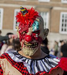Killer clown (gopper) Tags: clown it bristol zombie zombiewalk ngc portrait apocalypse costume dressup dead blood gore crazy mad nikon face people d600 sigma 105mm lens red