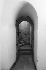 Narrow Escape (Douguerreotype) Tags: steps monochrome england gb blackandwhite london uk urban british mono stairs arch spiral architecture britain city bw helix church