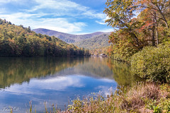 In search of autumn colors (Irina1010) Tags: lake reflections trees reflection water sky clouds autumn colors vogellake blueridgemountains nature canon outstandingromanianphotographers coth5