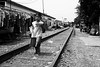 Delivering Lunch (anthonypond) Tags: phnompenh leicam10 cambodia railroadtracks bw 50mmsummilux