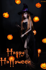 Eden Trouble (ArLekin26113) Tags: eden trouble fashionroyalty fashiondoll integrity nuface redhead pumpkin halloween witch witchhat broom