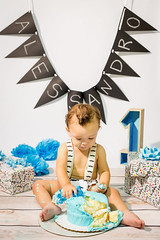 Cake Smash (haddartist) Tags: amphotography portrait session photoshoot oneyearold boy child birthday suspenders cute adorable presents banner name cake smash icing mess messy curls studio light virginiabeach virginia
