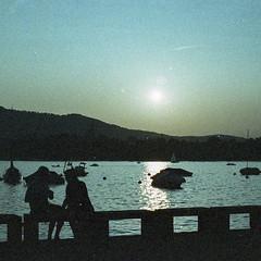 Sunset (LucieOnTheBridge) Tags: switzerland suisse lac colorama argentique nikon analogic zurich sunset lake