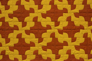 Red yellow quilt detail