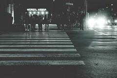 Perfect strangers (No_Mosquito) Tags: urban night people monochrome lights city vienna pedestrian crossing würstl kebap street centre austria canon powershot g7xmarkii