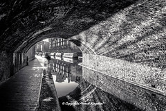 Birmingham Canal (atomikkingdom) Tags: street water pavement center waterways boats walk town light tunnel birmingham canal narrowboat apartment blue uk cloud centre cars sky bright ideas accommodation happy moored