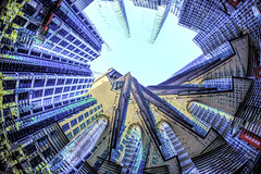 Round & Round we go (beelzebub2011) Tags: canada britishcolumbia vancouver 15mmfisheye abstract downtown multipleexposure intentionalcameramovement icm architecture buildings