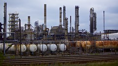 Tanko (Mike.Geiger.ca (Myke)) Tags: diesel factory fractionaldistillation fuel gas gasoline industrial industry metal montreal naturalgas petroleum pipe propane refinery smoke stack steam suncor tank tracks trail quebec canada
