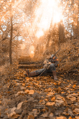 Best Buddies (aevo69) Tags: outdoors autumn family children bokeh leaves trees golden brown texture infant teddy whimsical fantasy andy evans andyevanscreations