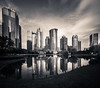 Refections in Lujiazui (Rob-Shanghai) Tags: cv12mm leica m240 shanghai china lujiazui park lake reflections mono towers