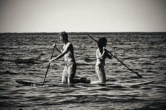 teamwork [EXPLORED] (Dirty Thumper) Tags: sonyphotographing sony alpha a7 a7ii ilcea7m2 ilce mirrorless minolta mc sr 200mm prime legacy vintage manual tele telephoto mf bw monochrome candid travel beach sea mediterranean adriatic paddleboard paddling summer rovinj croatia