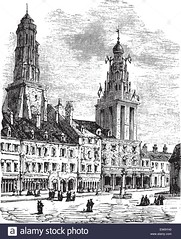 Calais city in France. City square, city hall and lighthouse vintage engraving. (looksLikeJake) Tags: black old engraved ancient antique art vintage drawing illustration picture print engraving etching artwork white vector square watchtower noble french museum culture people hall illuminated artist display image european calaosnord kales france calais city cityscape scene pasdecalais arras strait dover english channel town lighthouse statue proper