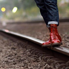 Waiting For a Train 4 (collaredinboots1) Tags: boots booted jeans redboots reddocs dms docs docmartens