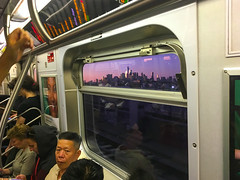 NYC through the subway car window (Z!SL) Tags: ftrain nyc subway train ny newyorkcity manhattan brooklyn viewovermanhattan viewfromthetrain viewthroughthewindow iphoneography iphonese iphonephotos iphone urban cityscape cityline city people transport sunset bluehour purple mta