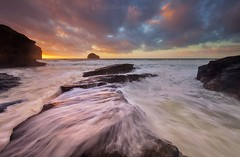 Trebarwith Strand (Twogiantscoops) Tags: merge shutterrelease canon filters landscape sky photomerge crash southwest effects light rockystructure westcountry luminosity cascade tidal creative chrismarshallsimages sunkissed seascape trebarwithstrand cornish west country haunting 5dmk2 photoshop surf painterly motionscape oceanmotion painting creativity motionism summer devon coastguard cornwall manfrotto cpfilter lephotography sundown 1635 tripod motion photography art lework waves golden windy levels evening wild scoopsimages glory colours seasons magnificent rocks tide lee beach britishheartfoundation moody sunset ocean wet areyouanorgandonor giftoflife ndgrads clouds