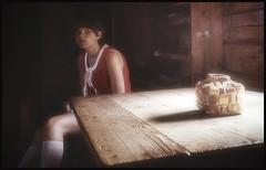 In an old house in 1969... (iEagle2) Tags: analog analogfilm analogue colorslide ehefrau female femme frau film teen dalecarlia woman wife sweden summer srt101 minolta